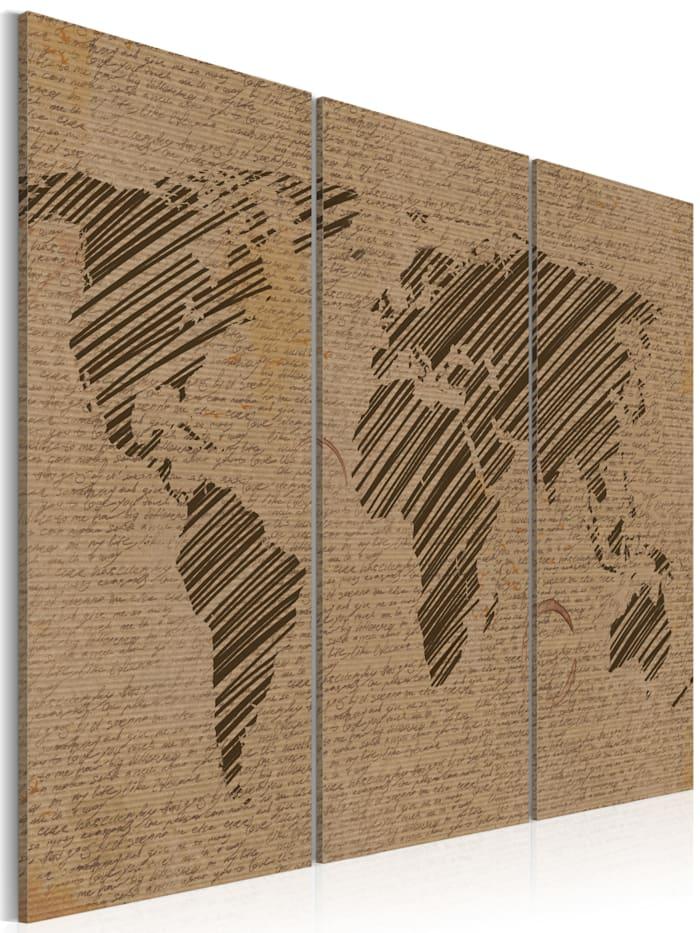 artgeist Wandbild Notizen aus der Welt - Triptychon, Braun