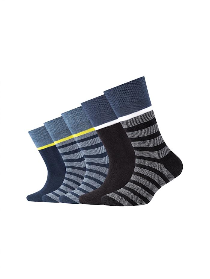 Camano Kinder Socken 5er-Pack Bio-Baumwolle mit elastischem Bündchen, blue