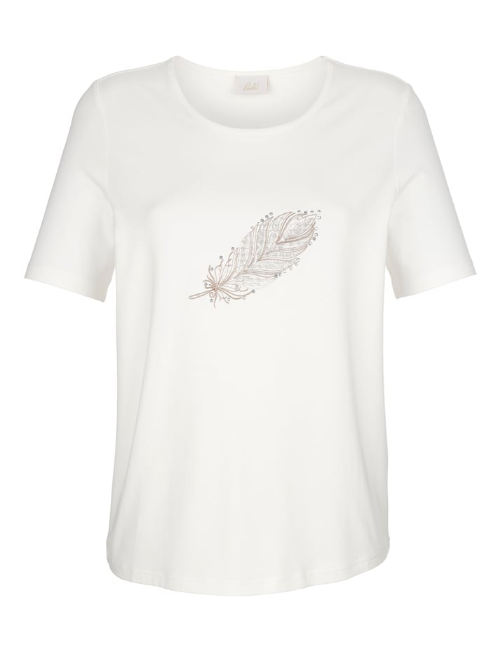 Shirt mit Feder-Stickerei