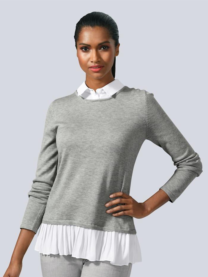 Alba Moda Pullover im modischen Layer-Look, Grau/Weiß