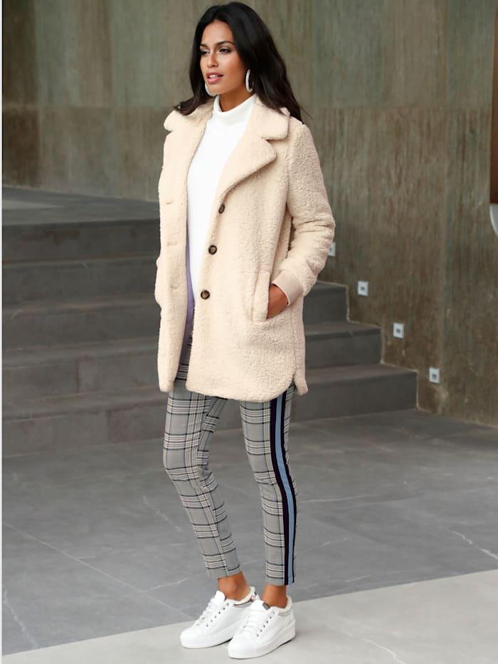AMY VERMONT Kožešinový kabát v hebce měkké kvalitě, Přírodní bílá