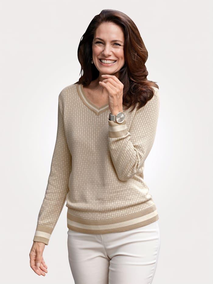 MONA Pullover mit grafischem Jaquard-Muster, Beige/Natur