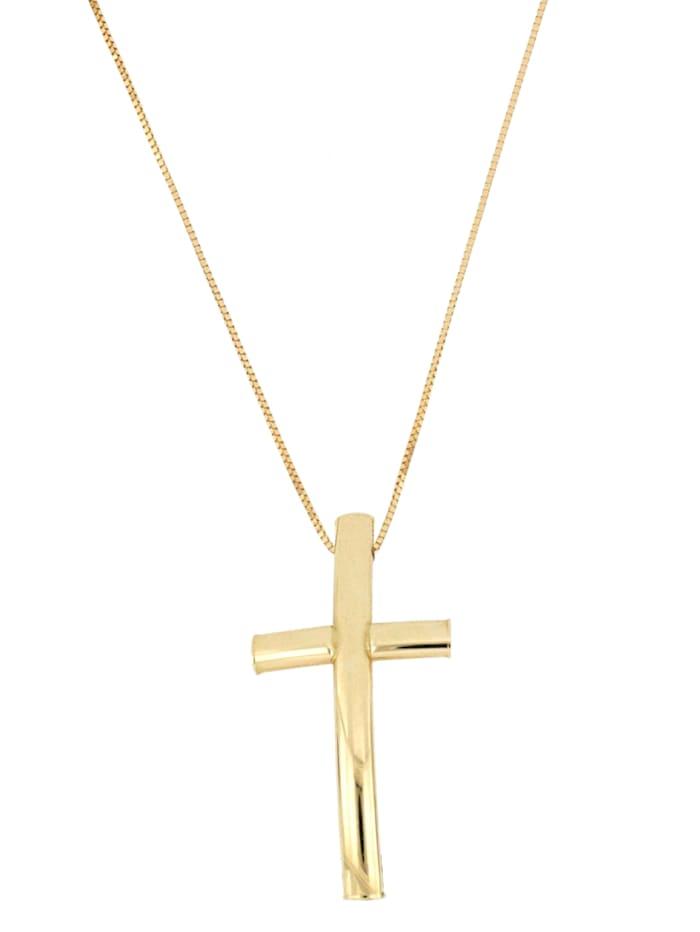 Grazielli Hanger Kruis met ketting, Geelgoudkleur