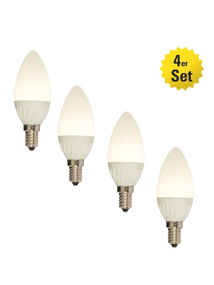 Näve Lot de 4 ampoules à LED E14/4W, Blanc chaud
