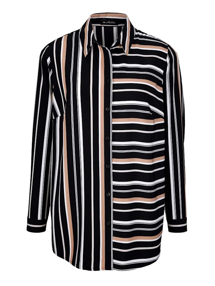 Bluse mit Längs- und Querstreifen Muster