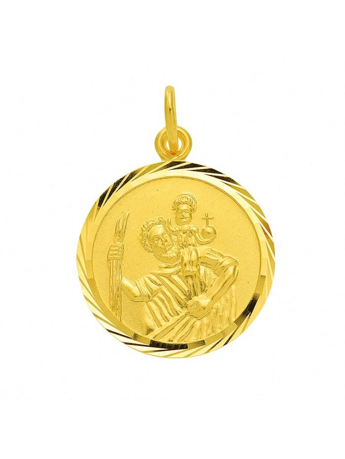 1001 Diamonds Damen Goldschmuck 333 Gold Anhänger Christophorus Ø 16 mm, gold