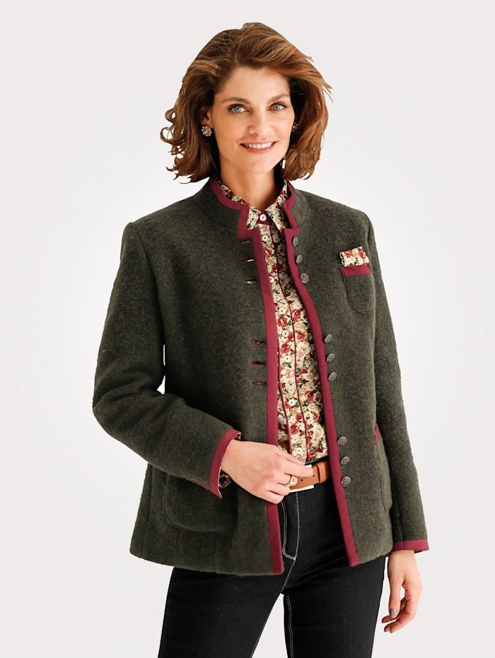 MONA Veste en laine feutrée en laine mélangée, Vert/Brique