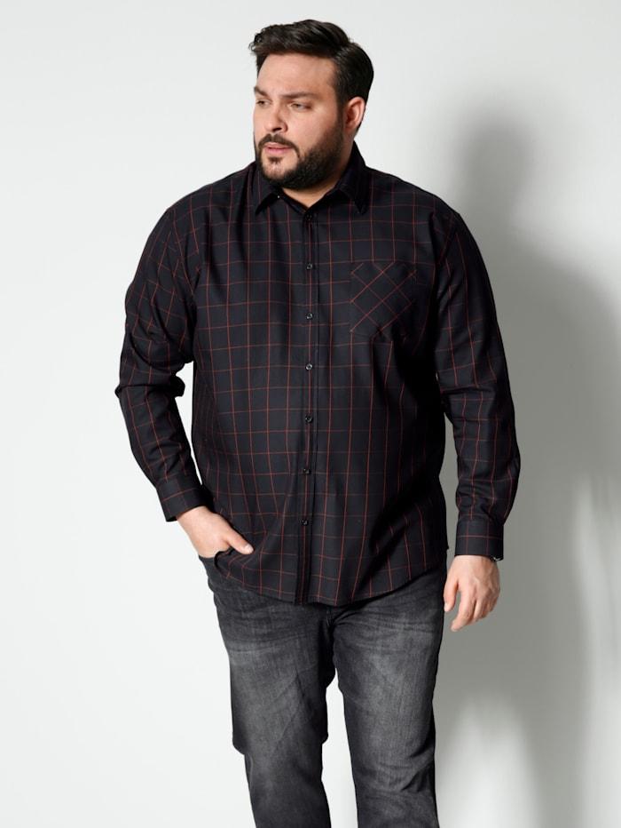 Men Plus Hemd aus reiner Baumwolle, Schwarz/Rot