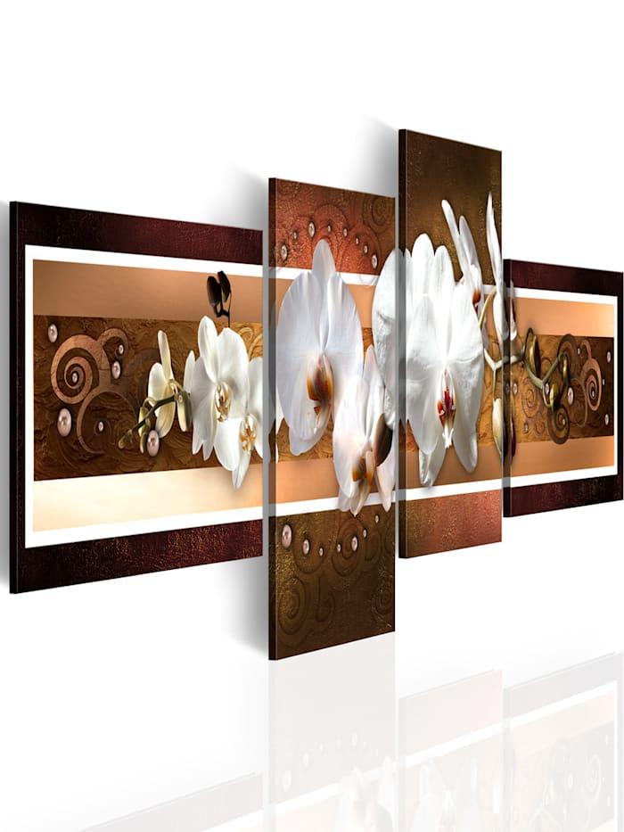 artgeist Wandbild Elegante Orchideen in abstrakter Komposition, Weiß,Braun,rosa