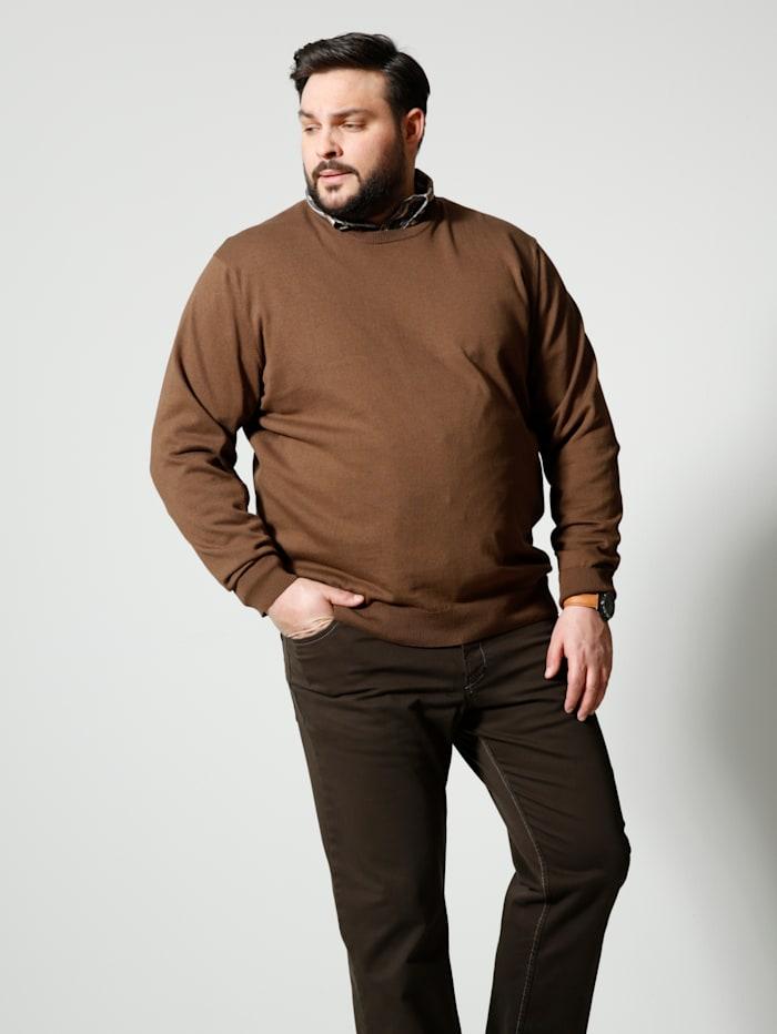 Men Plus Pullover aus reiner Baumwolle, Cognac