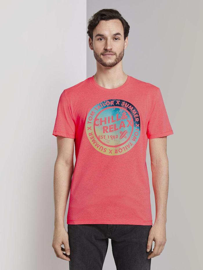 Tom Tailor T-Shirt mit Schrift-Print, neon peach