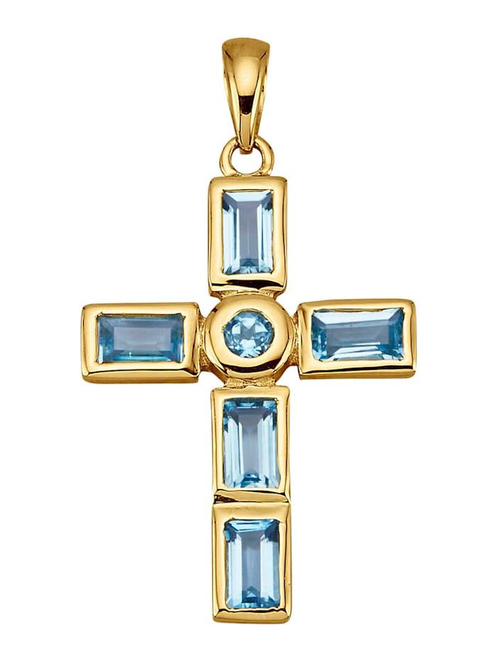 Amara Pierres colorées Pendentif Croix en or jaune 585, Bleu