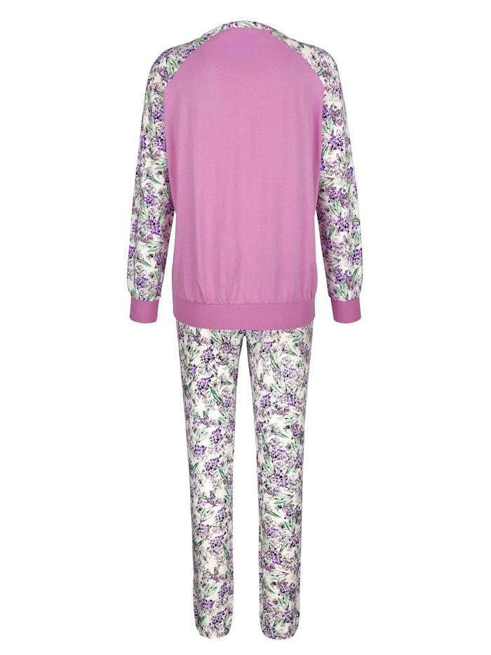 Pyjama met gedessineerde raglanmouwen