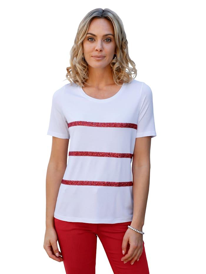 AMY VERMONT Shirt met pailletten, Wit/Rood