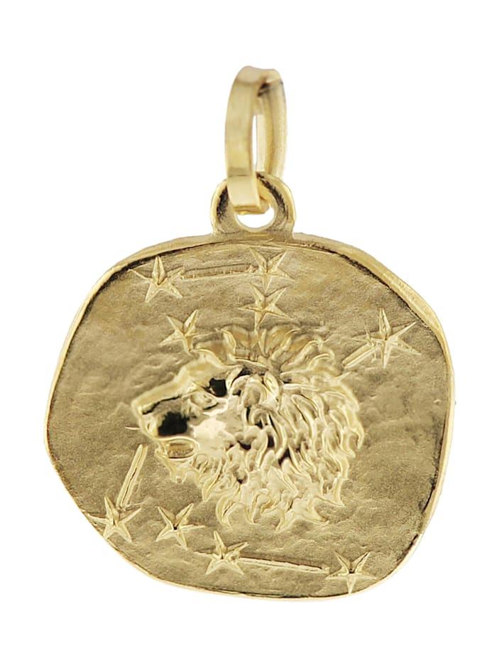 trendor Sternzeichen-Anhänger Löwe 585 Gold 16 mm, Goldfarben