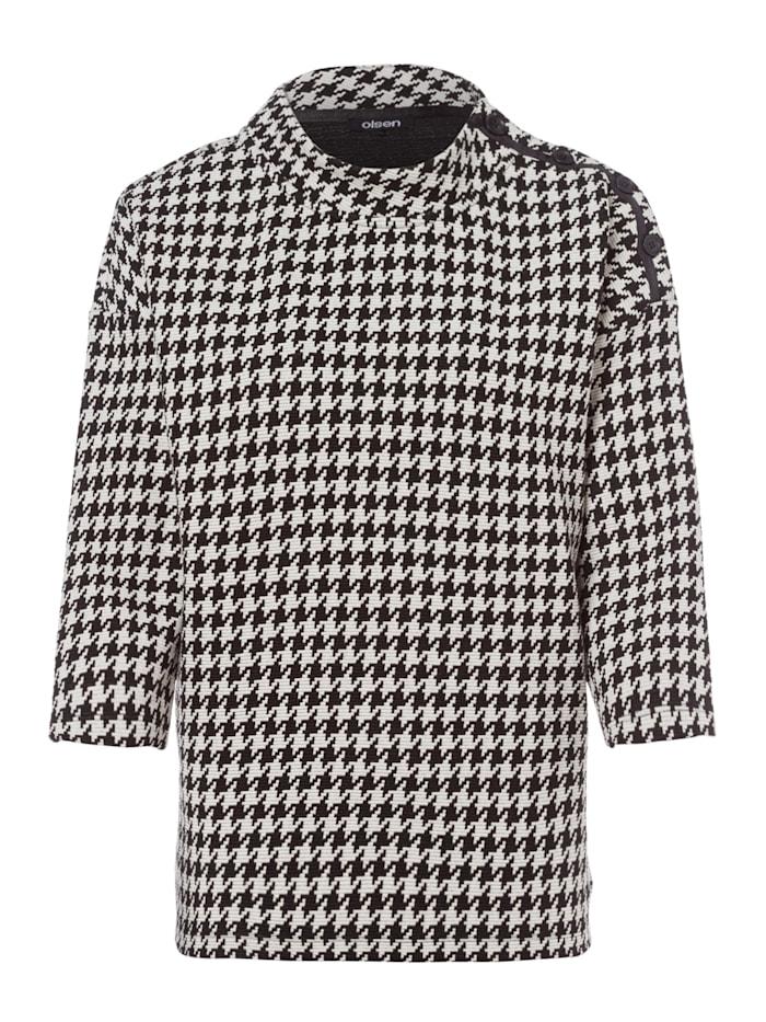 Olsen Sweatshirt mit Hahnentrittmuster, Black