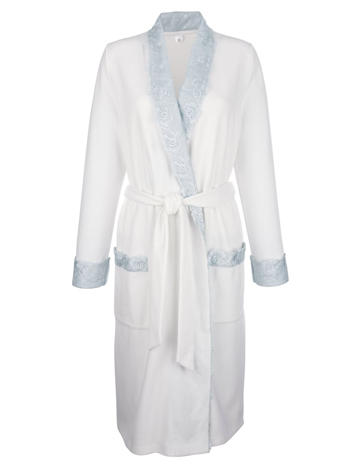 Simone Peignoir en jersey côtelé confortable, Écru/Bleu ciel