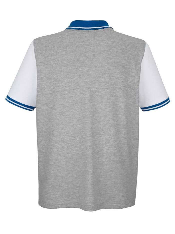 Poloshirt mit Farbteilung im Vorderteil