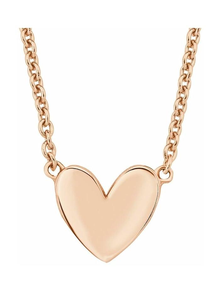 s.Oliver Kette mit Anhänger für Damen Herz, 925er Sterling Silber rosévergoldet, Rosefarben