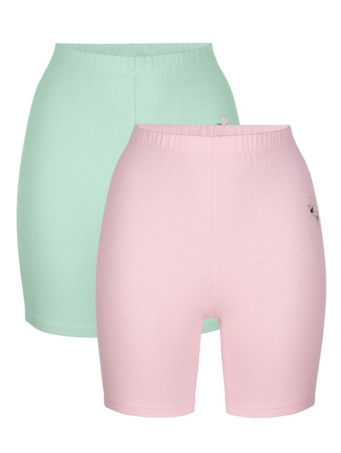 Harmony Lange boxershorts per 2 stuks, Jadegroen/Roze