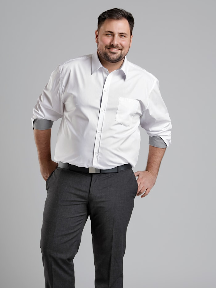 Men Plus Hemd Spezialschnitt, Weiß