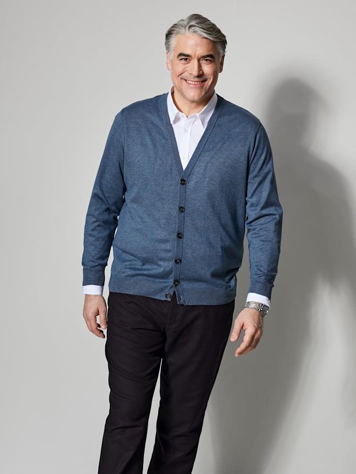 Men Plus Cardigan aus pflegeleichter Baumwoll-Mischung, Blau