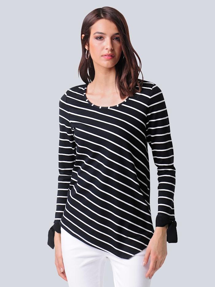 Alba Moda Shirt in schönem Materialmix, Schwarz/Off-white