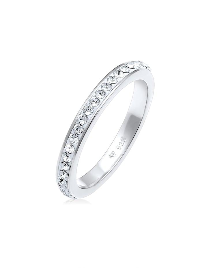 Elli Ring Bandring Kristall 925 Silber, Weiß