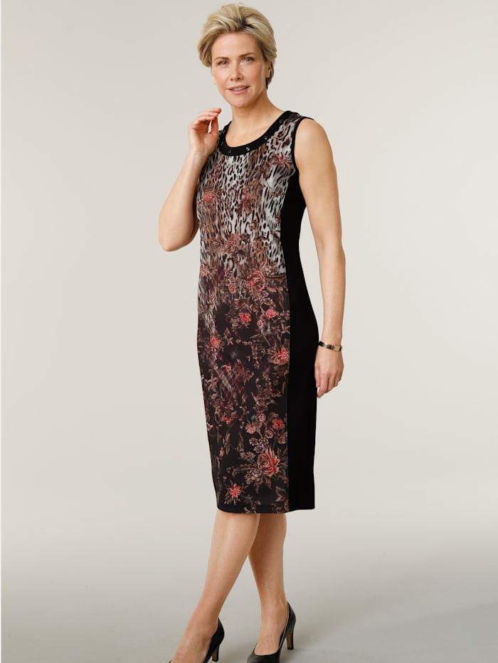 MONA Jersey jurk met paillettenversiering langs de hals, Zwart/Beige/Berry