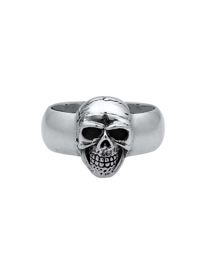 Ring Herren Siegelring Totenkopf Oxidiert 925Er Silber