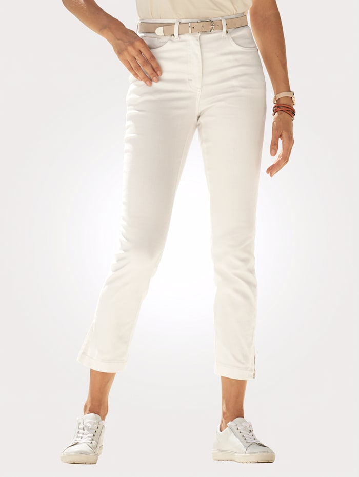 MONA Cropped jeans with zipped hem detailing, Ecru