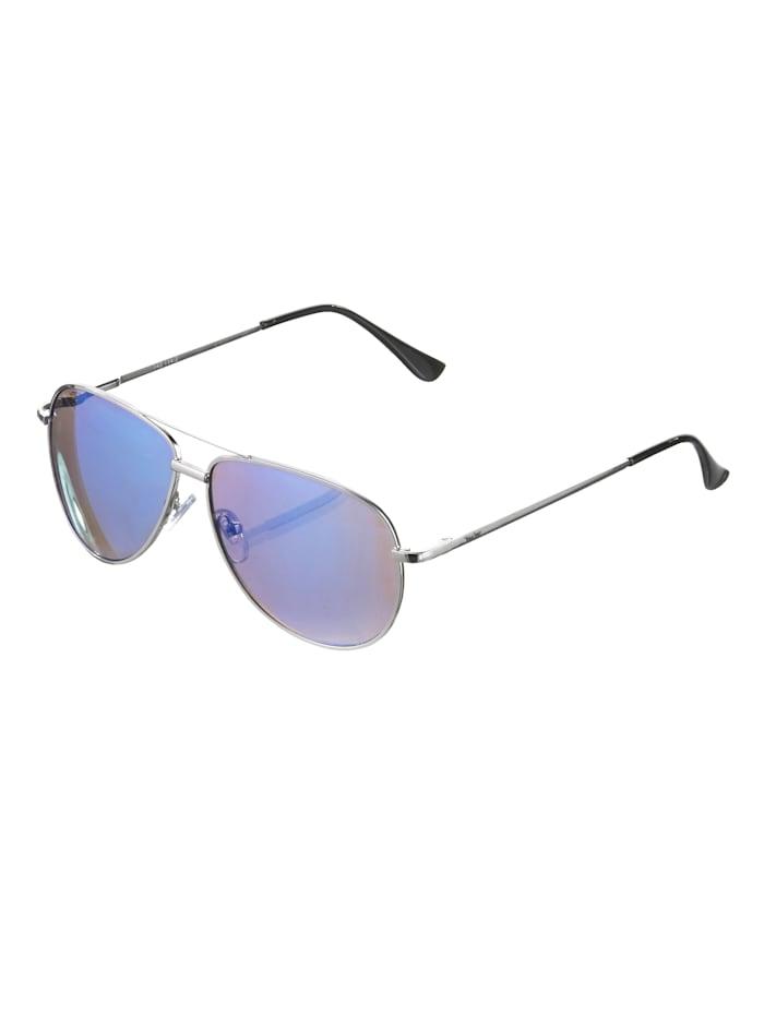 Alba Moda Lunettes de soleil de style aviateur, Coloris argenté/bleu