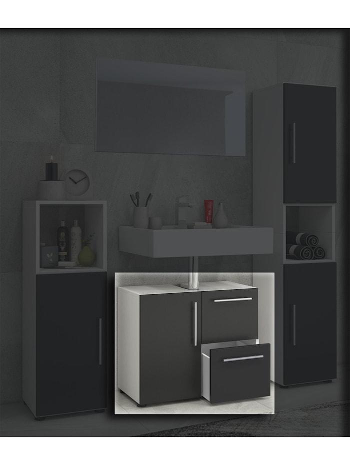 VCM Holz Badmöbel Badunterschrank Flandu mit Schublade, Weiß / Schwarz
