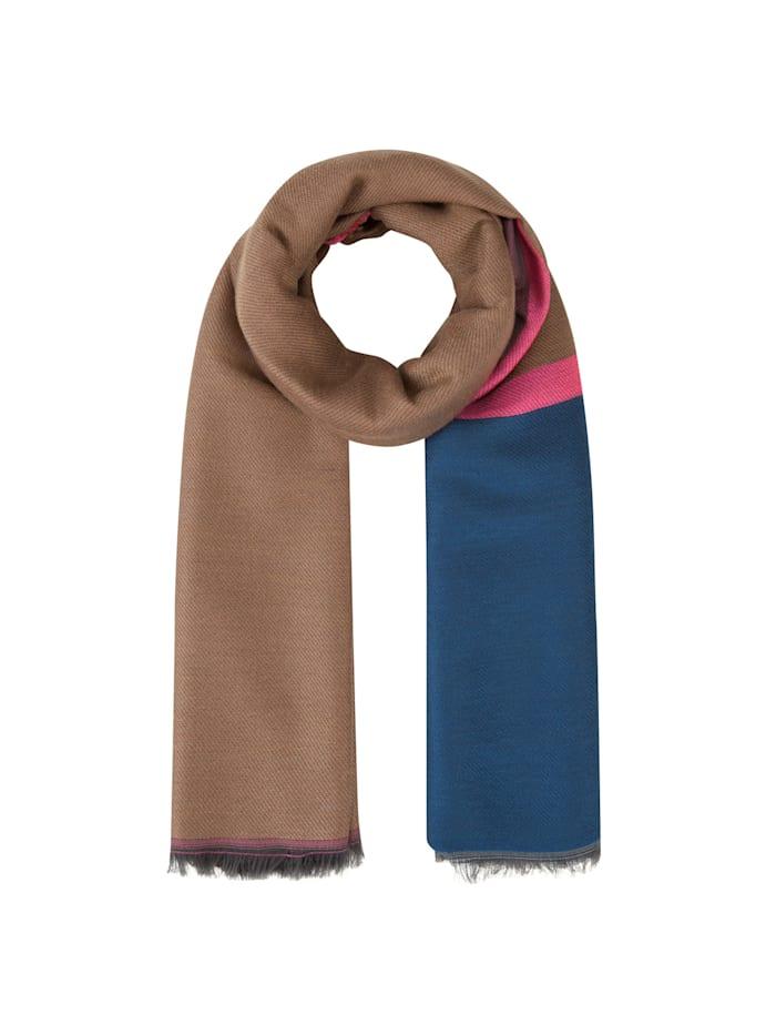 Codello Art School Schal mit breiten Jacquard-Streifen, royal blue