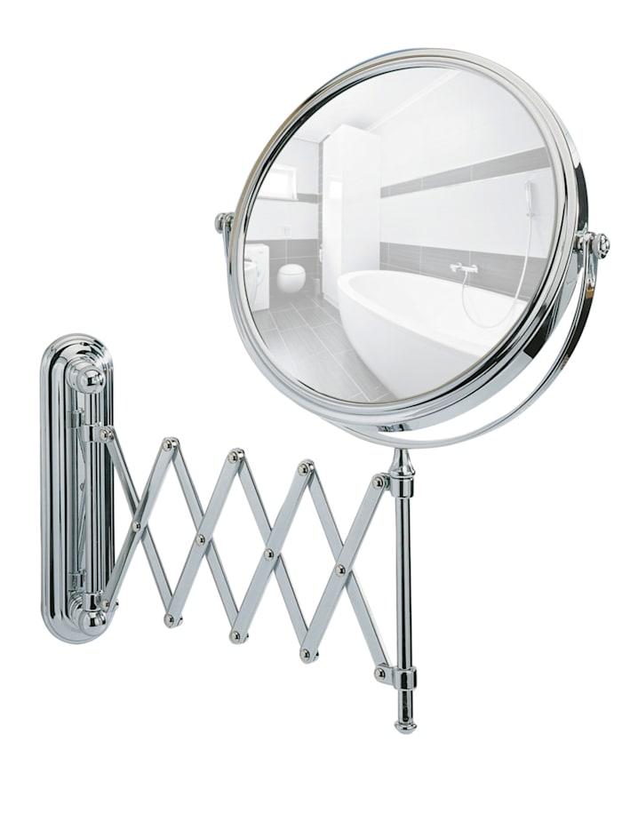 Wenko Kosmetikspiegel Deluxe Teleskop, Wandspiegel, 5-fach Vergrößerung, Chrom