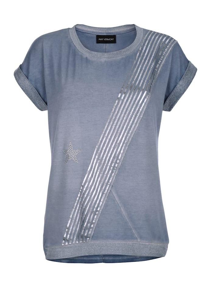 Shirt mit Foiliendruck und Strasssteindekoration im Vorderteil