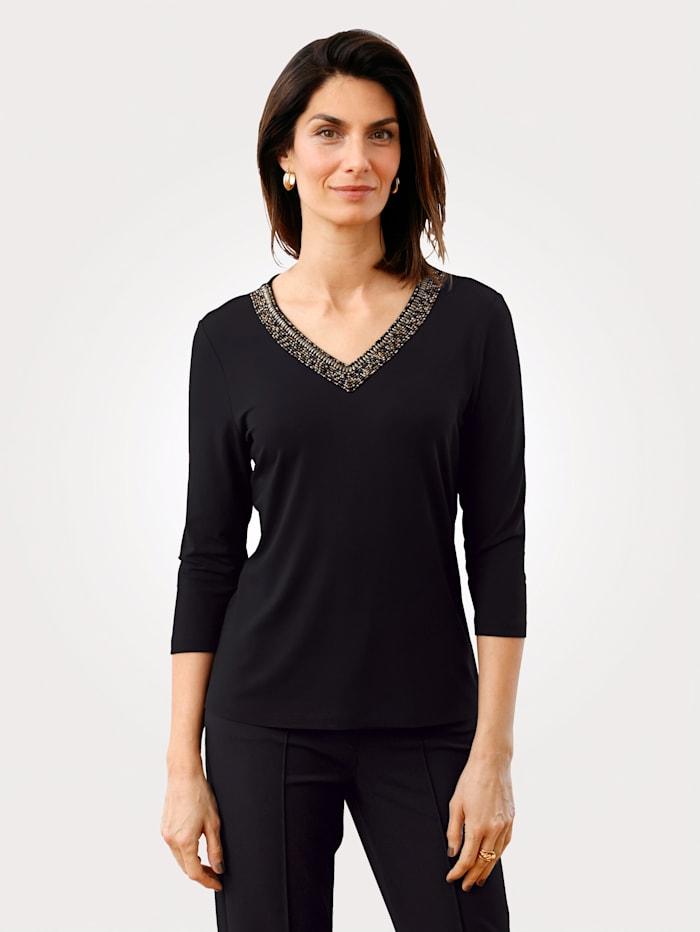 MONA Shirt mit Perlendekoration am Ausschnitt, Schwarz