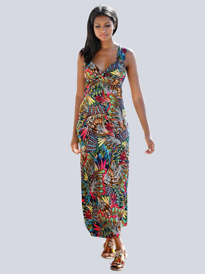 Alba Moda Strandkleid mit Federndruck, Marine-Bunt