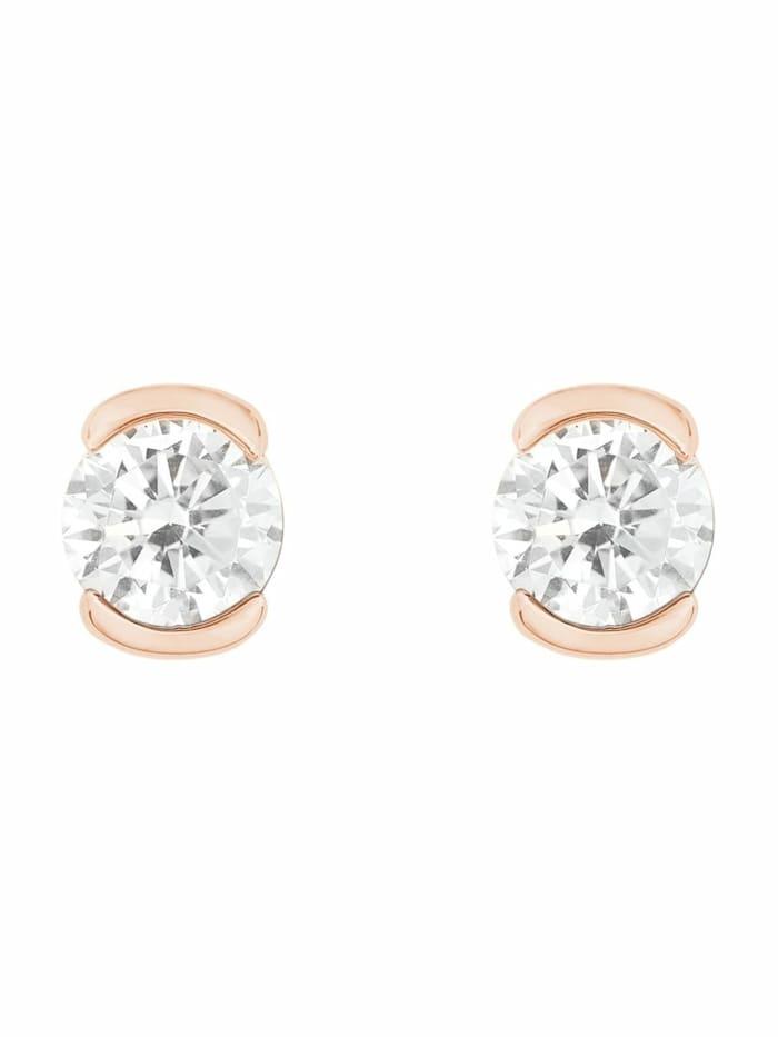 Ohrstecker für Damen, Silber 925 rosévergoldet, Zirkonia weiß