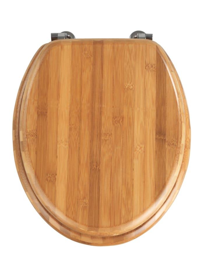 Wenko WC-Sitz Bambus Dunkel, Braun - Dunkelbraun, Befestigung: Silber matt
