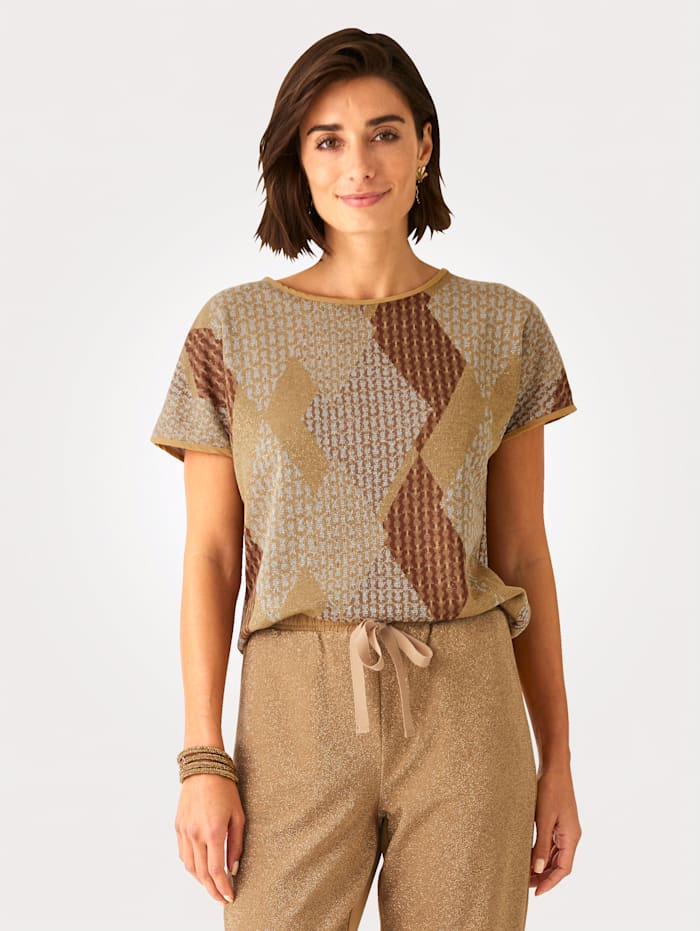 MONA Top in a graphic jacquard knit, Cognac/Beige/Gold-Coloured