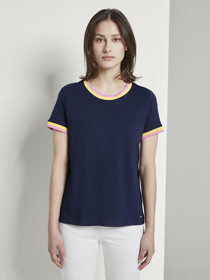 Tom Tailor Denim Jersey T-Shirt mit Kontrast-Details, Real Navy Blue
