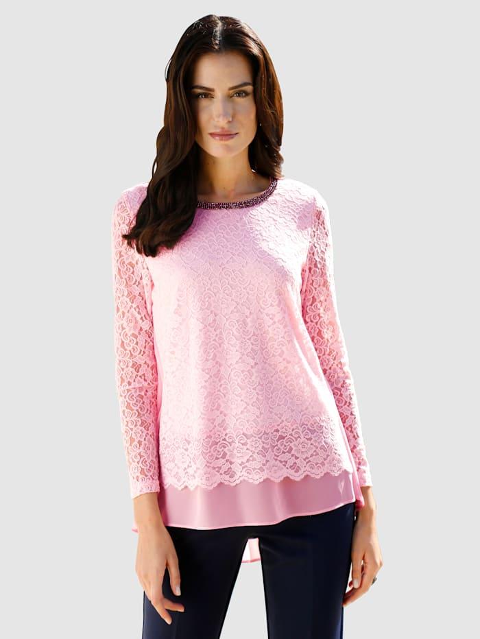 Shirt met plisséinzet van chiffon achter, Roze