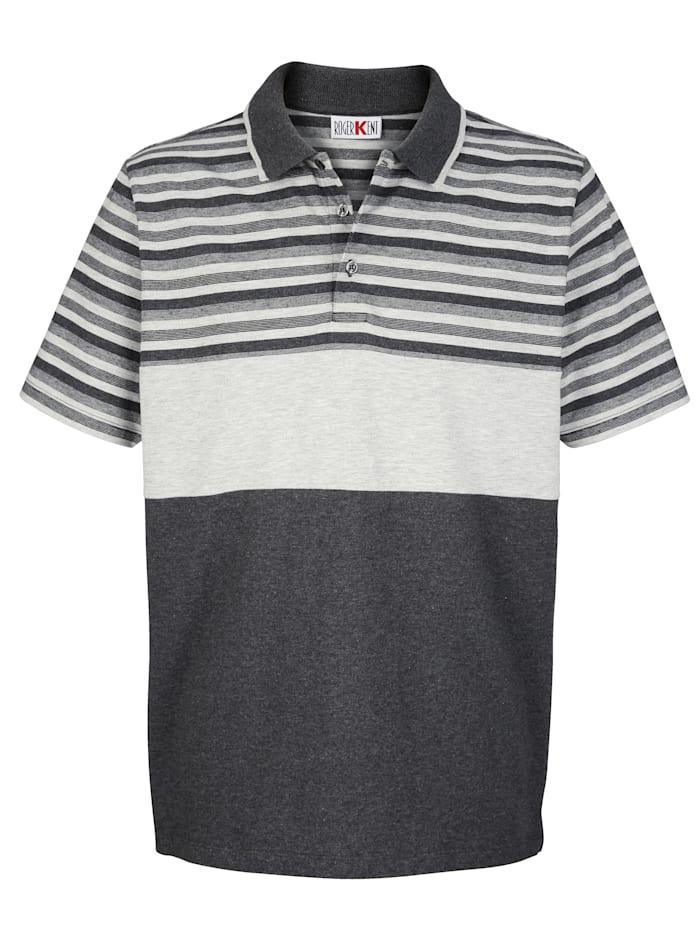 Roger Kent Poloshirt mit Garngefärbtem Streifenmuster, Grau