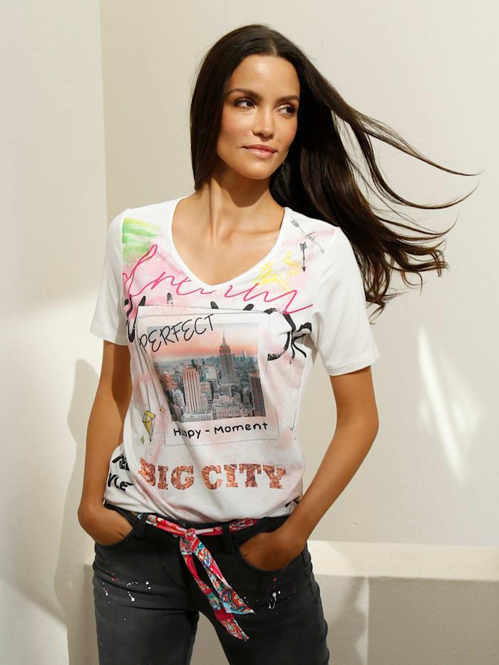 AMY VERMONT Shirt mit Druck im Vorderteil, Off-white/Pink/Orange