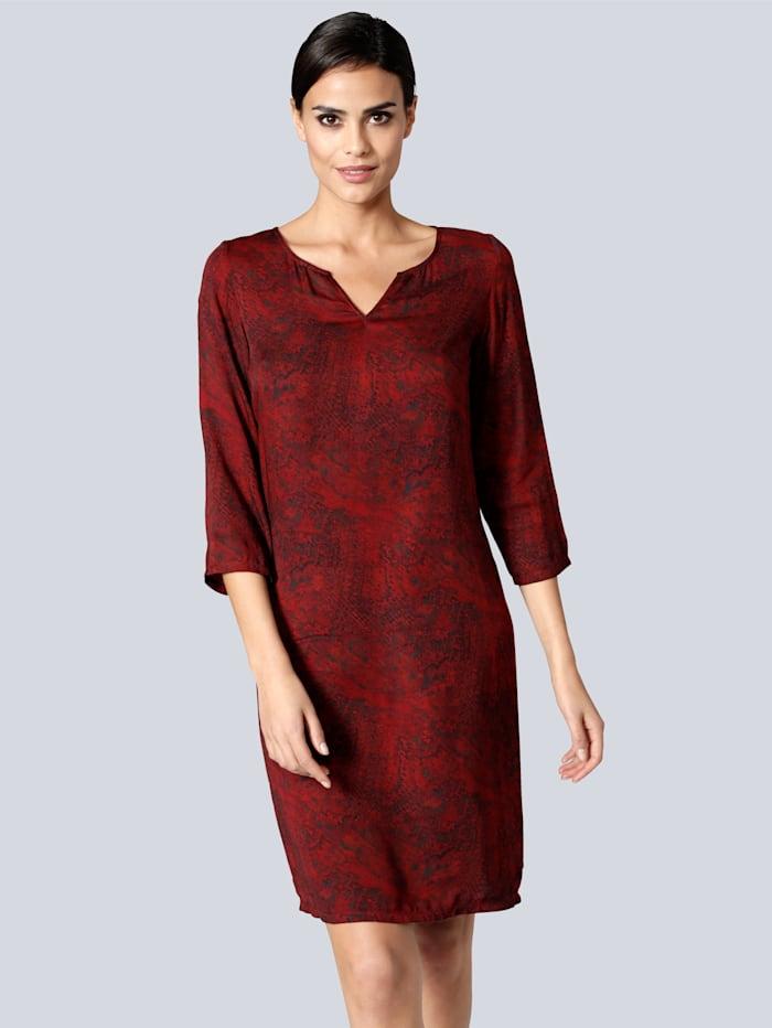 Alba Moda Kleid aus reiner Viskose-Ware, Bordeaux/Schwarz