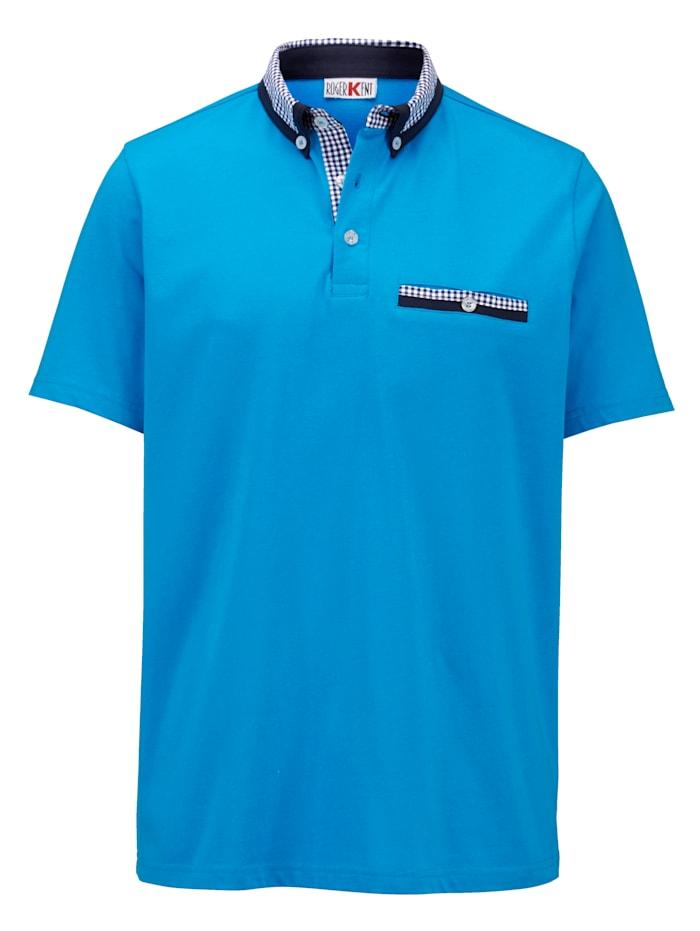 Roger Kent Poloshirt met geruite kraag, Turquoise