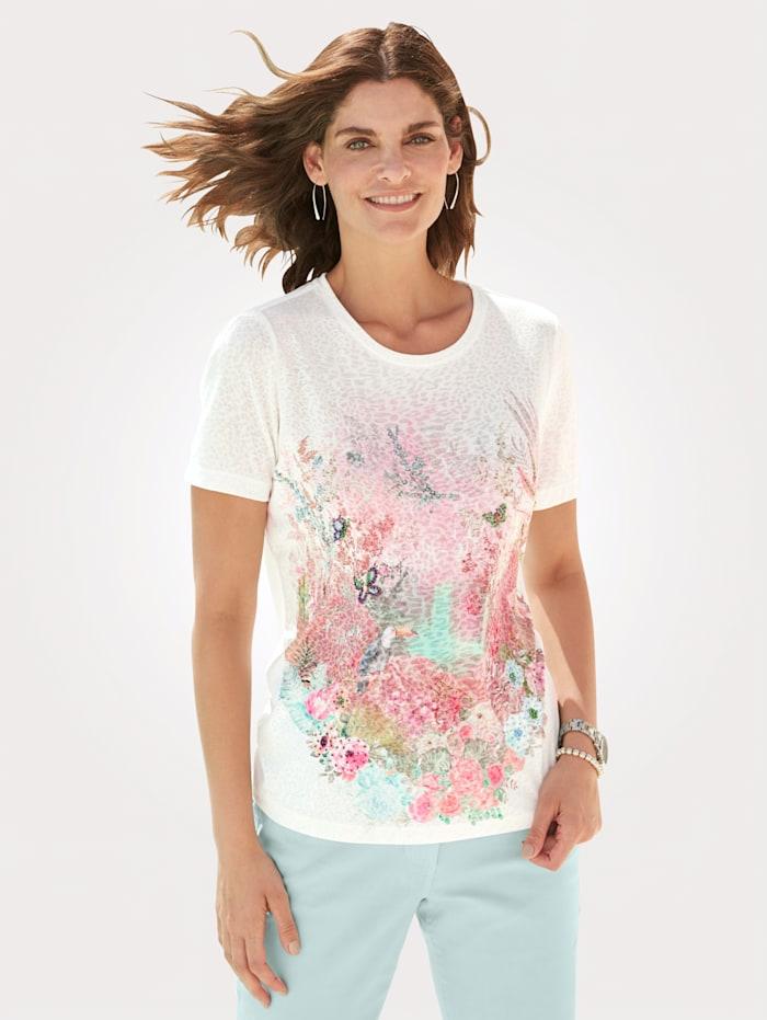 MONA T-shirt avec pierres fantaisie multicolores, Écru