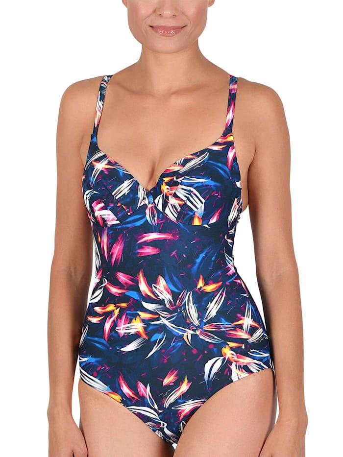 Naturana Schalen Badeanzug mit Bügel, graublau-pink-gelb