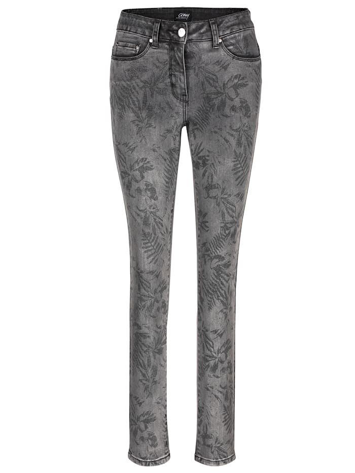 AMY VERMONT Jeans mit allover Blätterdruck, Grau